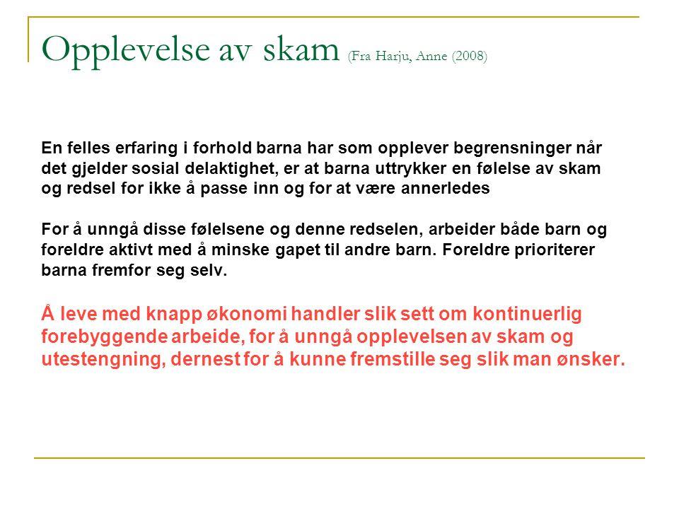 Opplevelse av skam (Fra Harju, Anne (2008)