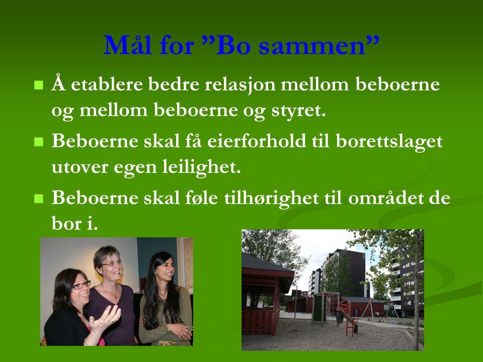 Mål for Bo sammen Å etablere bedre relasjon mellom beboerne og mellom beboerne og styret.