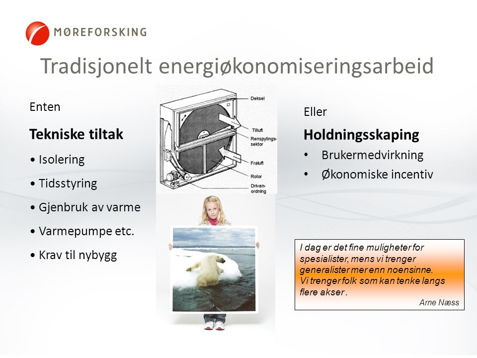 Tradisjonelt energiøkonomiseringsarbeid