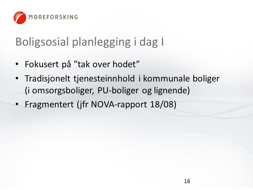Boligsosial planlegging i dag I