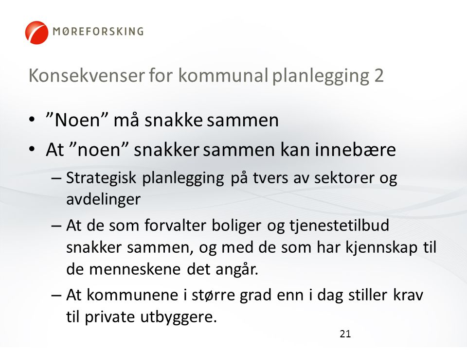 Konsekvenser for kommunal planlegging 2