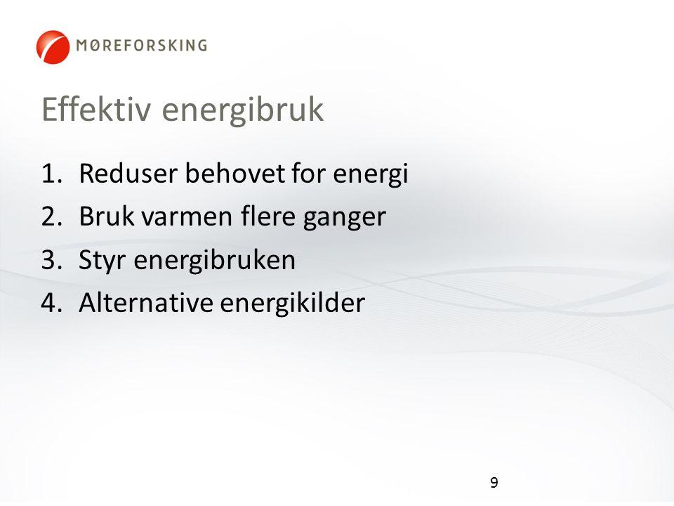 Effektiv energibruk Reduser behovet for energi