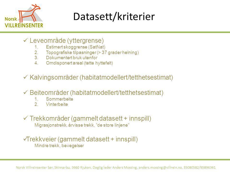 Datasett/kriterier Leveområde (yttergrense)