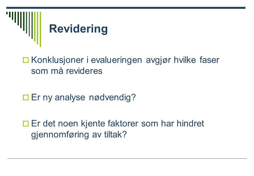 Revidering Konklusjoner i evalueringen avgjør hvilke faser som må revideres. Er ny analyse nødvendig