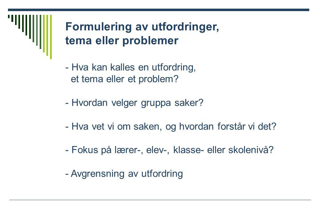 Formulering av utfordringer, tema eller problemer