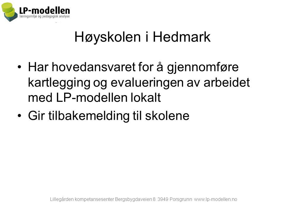 Høyskolen i Hedmark Har hovedansvaret for å gjennomføre kartlegging og evalueringen av arbeidet med LP-modellen lokalt.