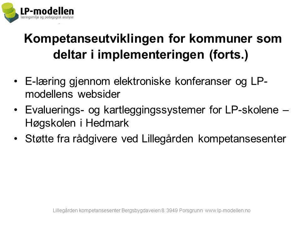 Kompetanseutviklingen for kommuner som deltar i implementeringen (forts.)