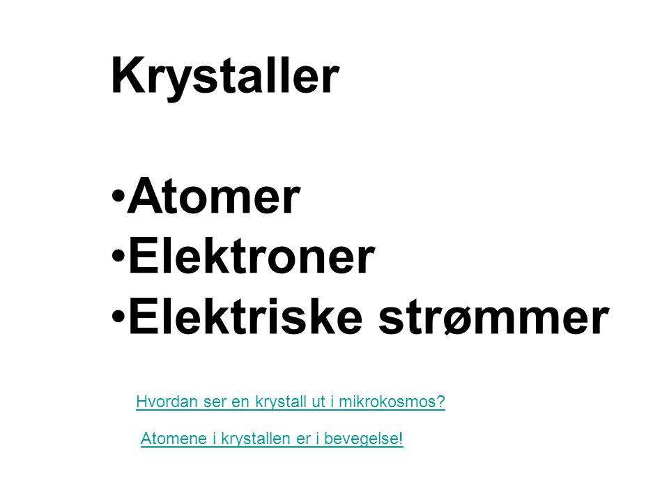 Krystaller Atomer Elektroner Elektriske strømmer