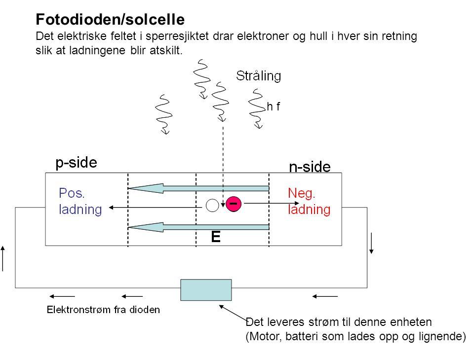 Fotodioden/solcelle Det elektriske feltet i sperresjiktet drar elektroner og hull i hver sin retning slik at ladningene blir atskilt.