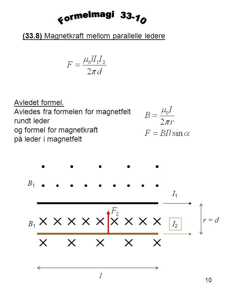 Formelmagi 33-10 (33.8) Magnetkraft mellom parallelle ledere