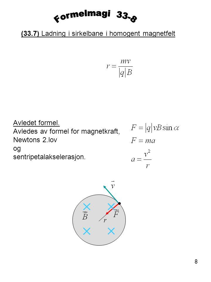 Formelmagi 33-8 (33.7) Ladning i sirkelbane i homogent magnetfelt