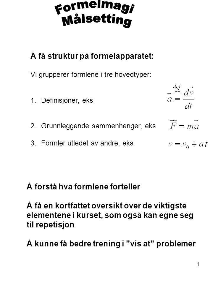 Formelmagi Målsetting Å få struktur på formelapparatet: