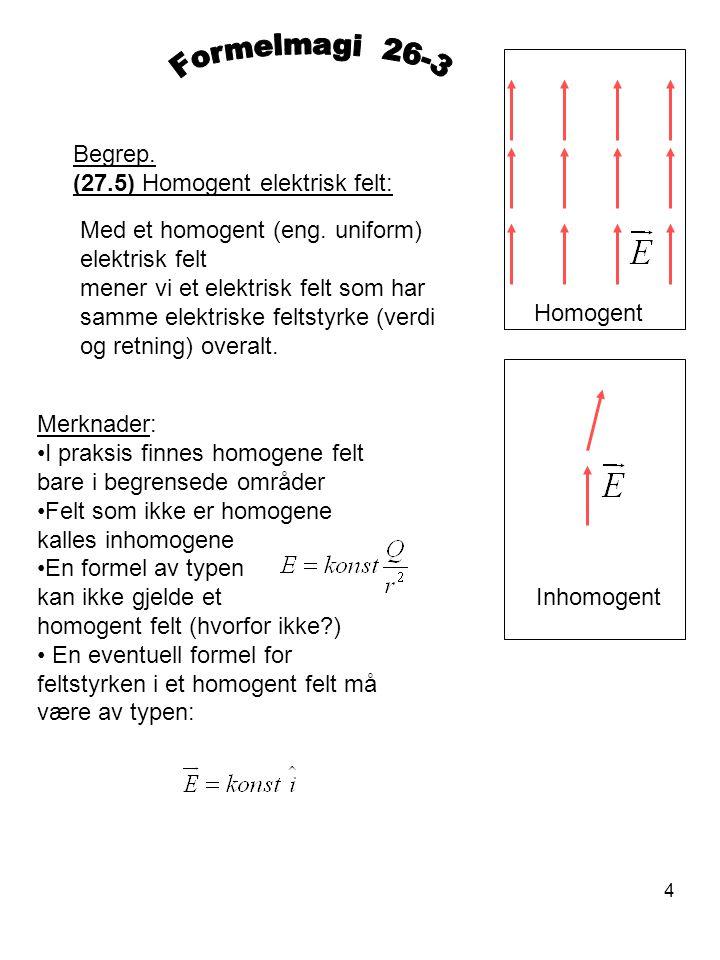 Formelmagi 26-3 Begrep. (27.5) Homogent elektrisk felt: