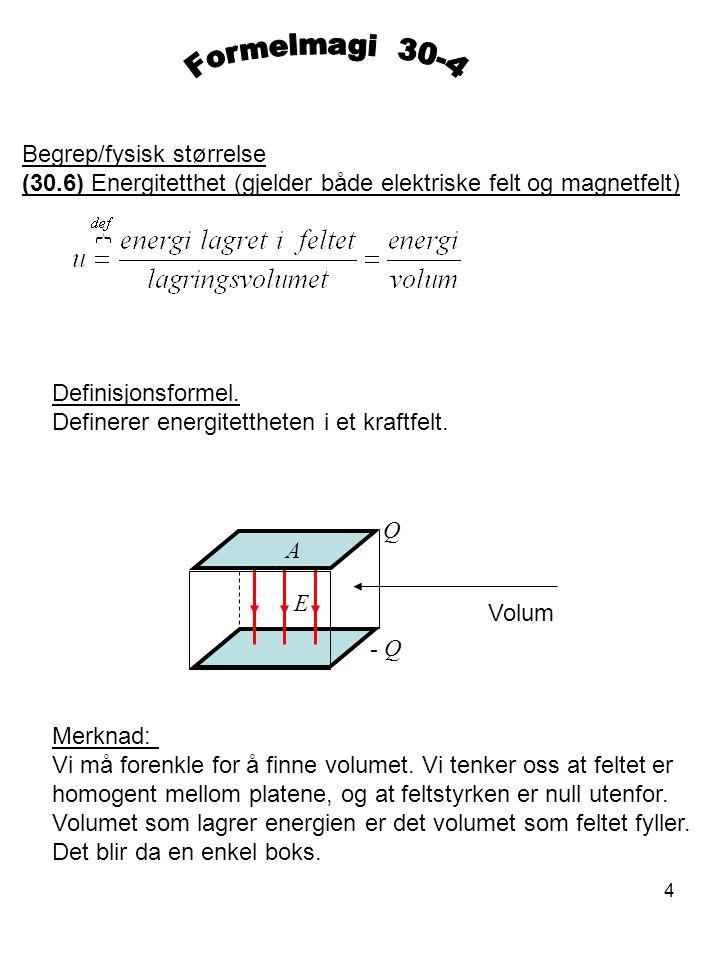 Formelmagi 30-4 Begrep/fysisk størrelse (30.6) Energitetthet (gjelder både elektriske felt og magnetfelt)