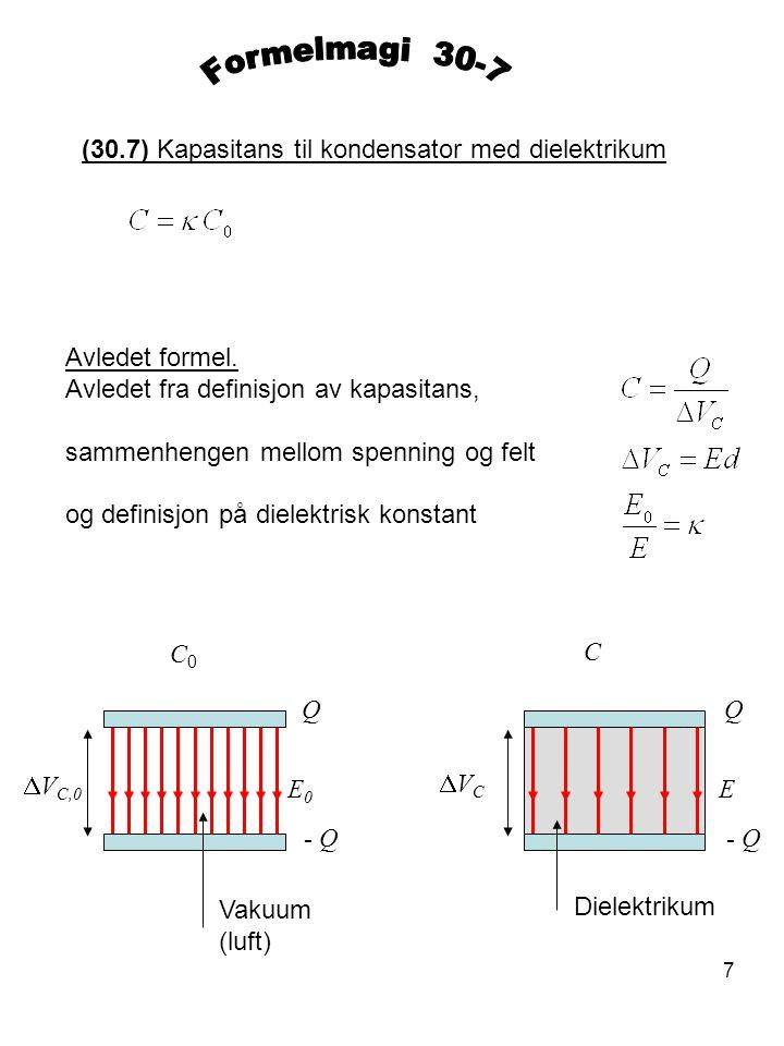 Formelmagi 30-7 (30.7) Kapasitans til kondensator med dielektrikum