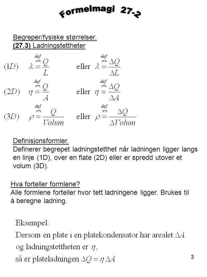 Formelmagi 27-2 Begreper/fysiske størrelser. (27.3) Ladningstettheter