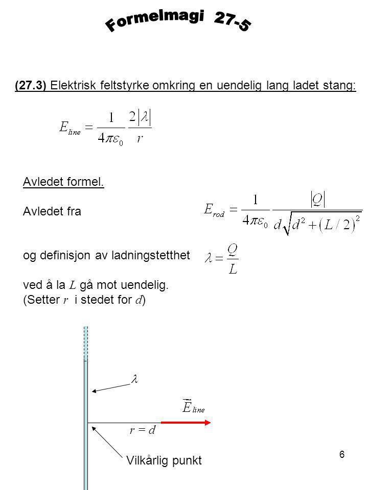 Formelmagi 27-5 (27.3) Elektrisk feltstyrke omkring en uendelig lang ladet stang: Avledet formel.