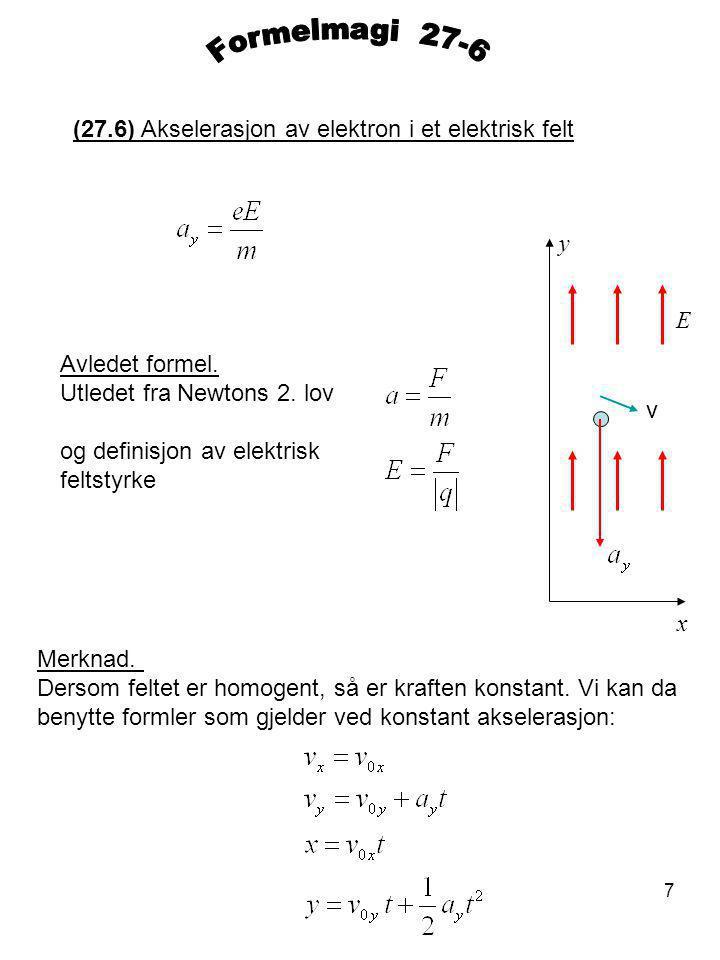 Formelmagi 27-6 (27.6) Akselerasjon av elektron i et elektrisk felt y