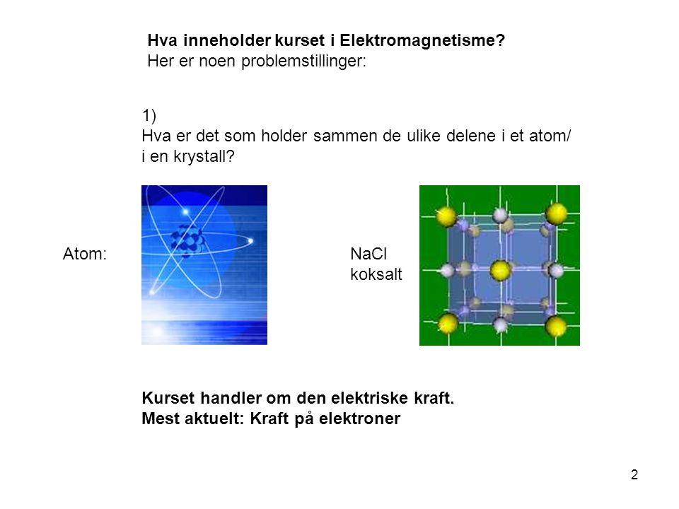 Hva inneholder kurset i Elektromagnetisme