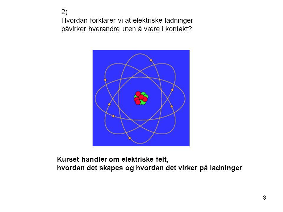 2) Hvordan forklarer vi at elektriske ladninger påvirker hverandre uten å være i kontakt