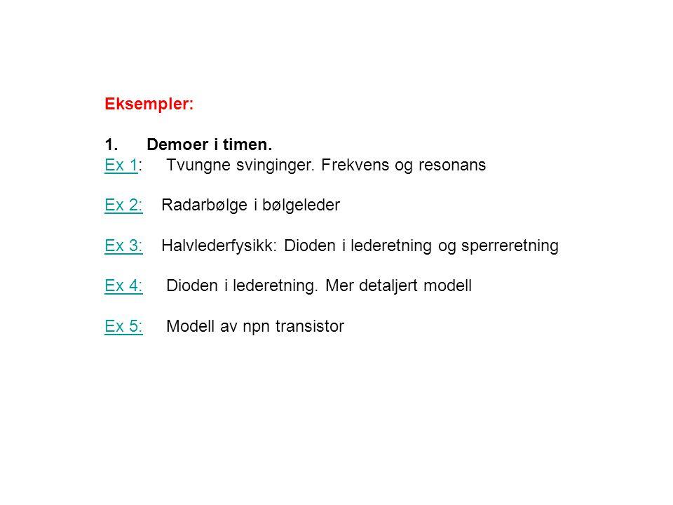 Eksempler: 1. Demoer i timen. Ex 1: Tvungne svinginger. Frekvens og resonans. Ex 2: Radarbølge i bølgeleder.