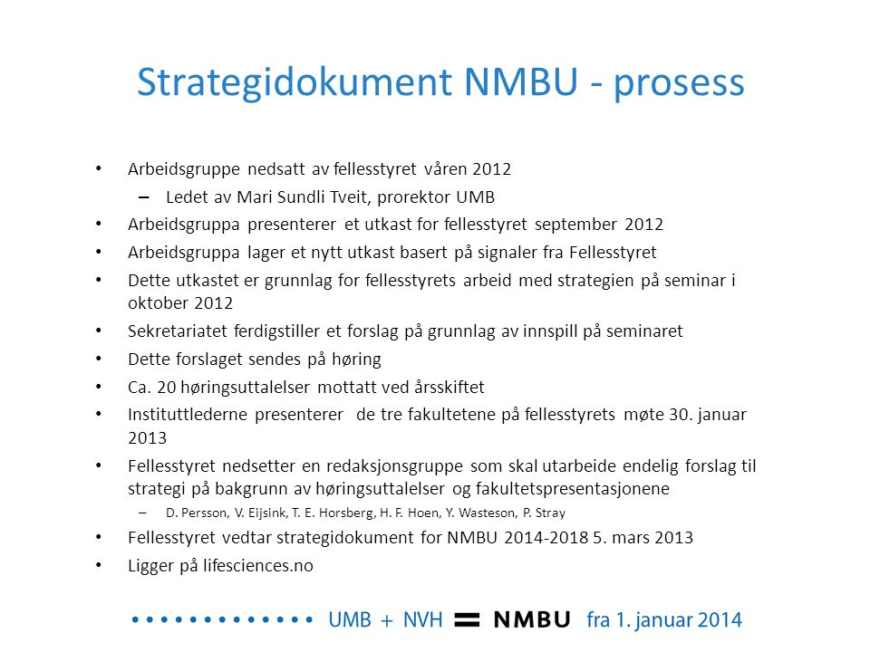 Strategidokument NMBU - prosess