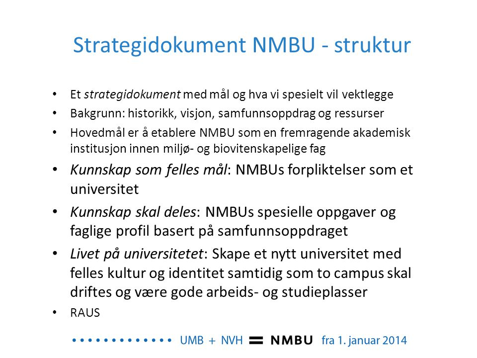 Strategidokument NMBU - struktur