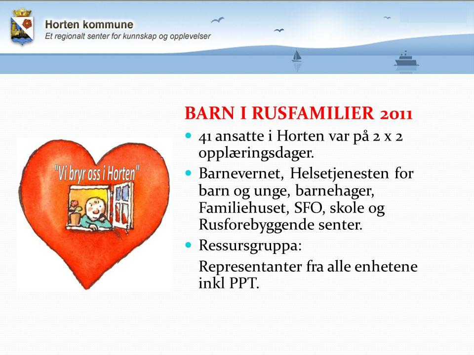 BARN I RUSFAMILIER 2011 41 ansatte i Horten var på 2 x 2 opplæringsdager.