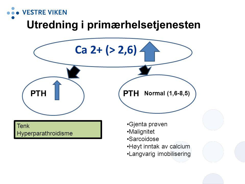 Ca 2+ (> 2,6) Utredning i primærhelsetjenesten PTH PTH