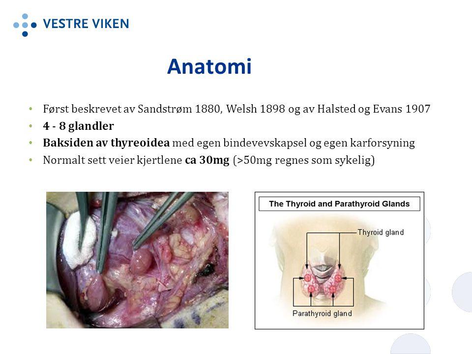 Anatomi Først beskrevet av Sandstrøm 1880, Welsh 1898 og av Halsted og Evans 1907. 4 - 8 glandler.