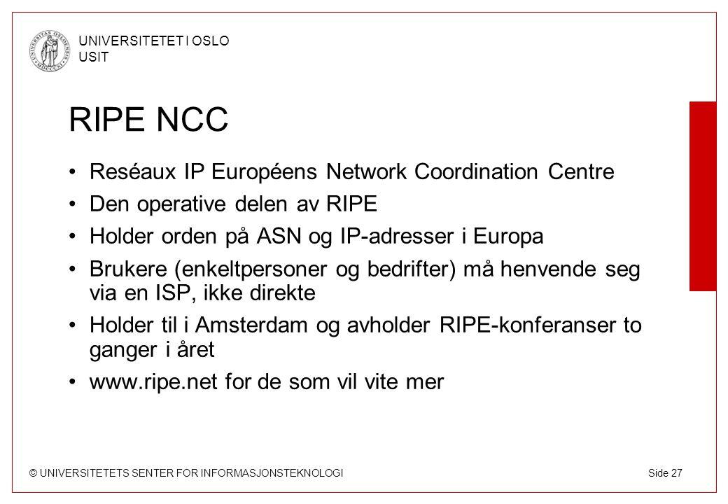 RIPE NCC Reséaux IP Européens Network Coordination Centre