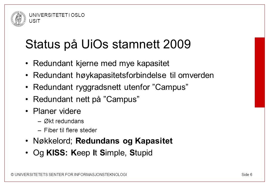 Status på UiOs stamnett 2009