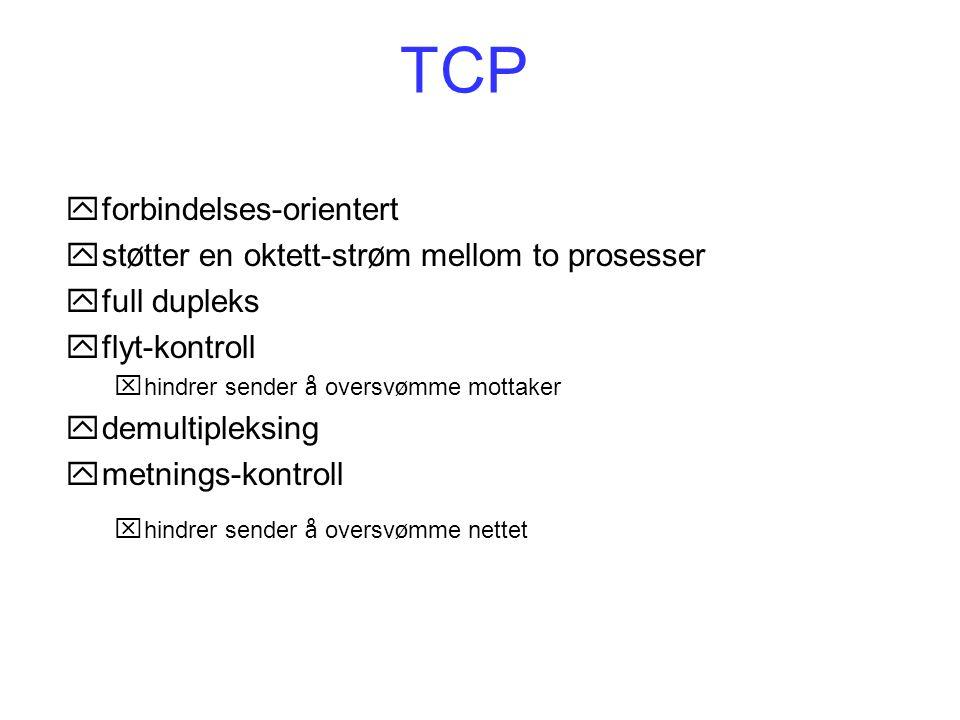TCP forbindelses-orientert støtter en oktett-strøm mellom to prosesser