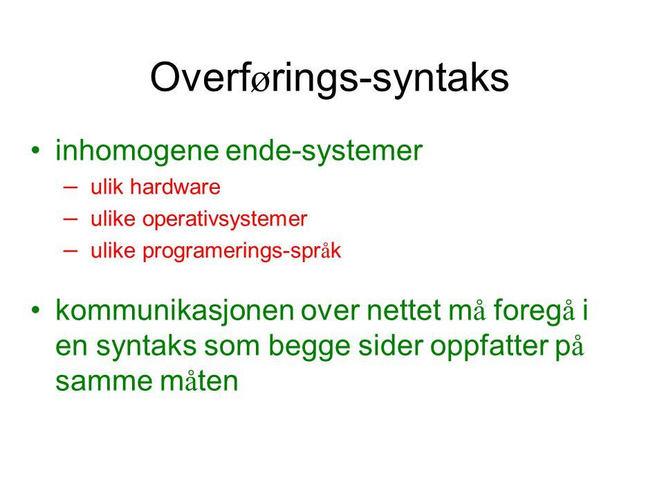 Overførings-syntaks inhomogene ende-systemer