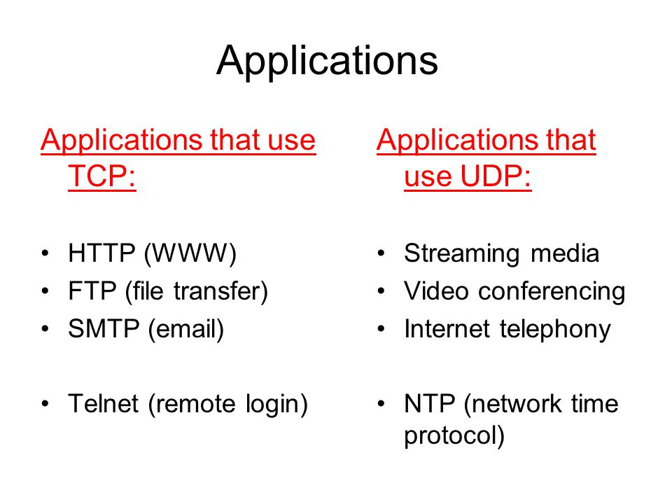 Applications Applications that use TCP: Applications that use UDP: