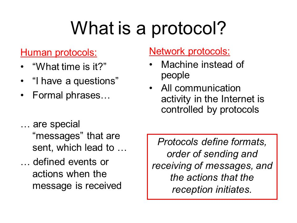 What is a protocol Human protocols: What time is it