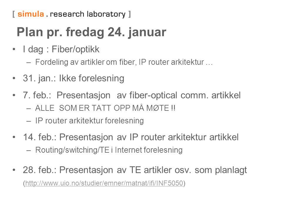 Plan pr. fredag 24. januar I dag : Fiber/optikk