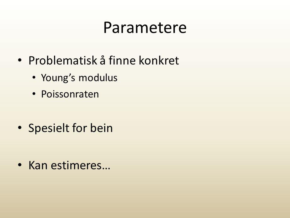 Parametere Problematisk å finne konkret Spesielt for bein
