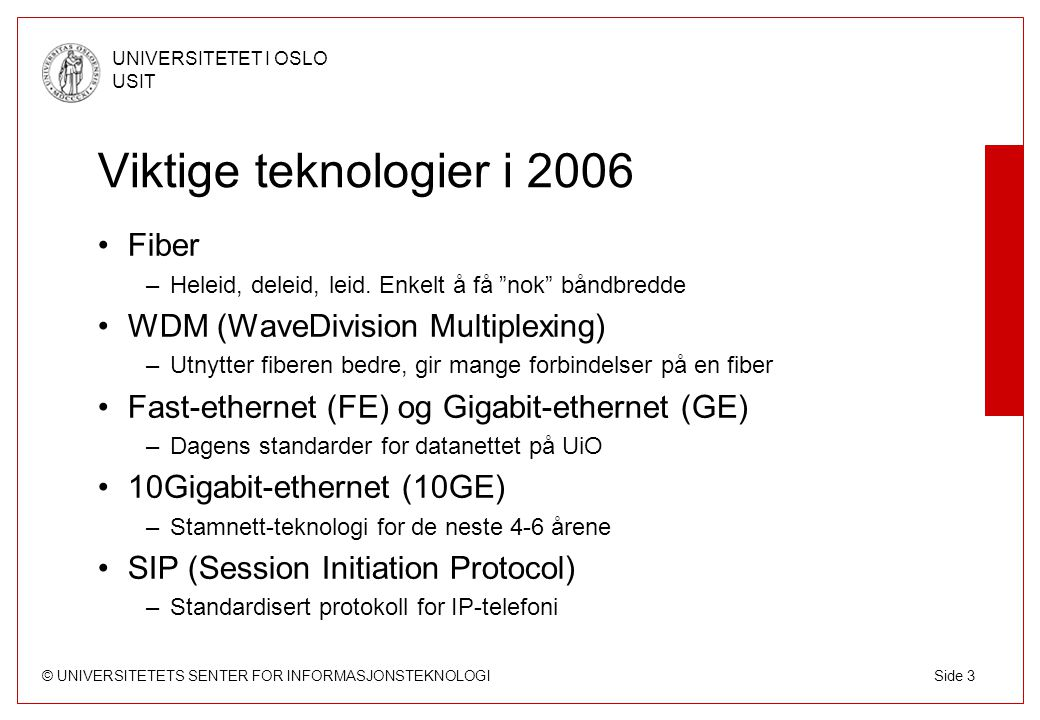 Viktige teknologier i 2006 Fiber WDM (WaveDivision Multiplexing)