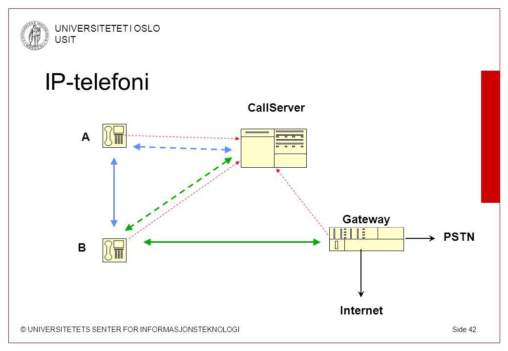 IP-telefoni CallServer A Gateway PSTN B Internet