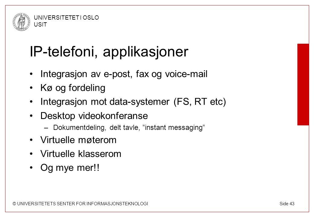 IP-telefoni, applikasjoner