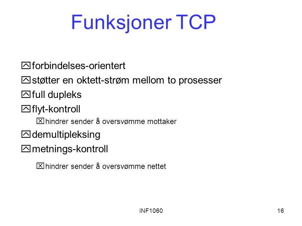 Funksjoner TCP forbindelses-orientert