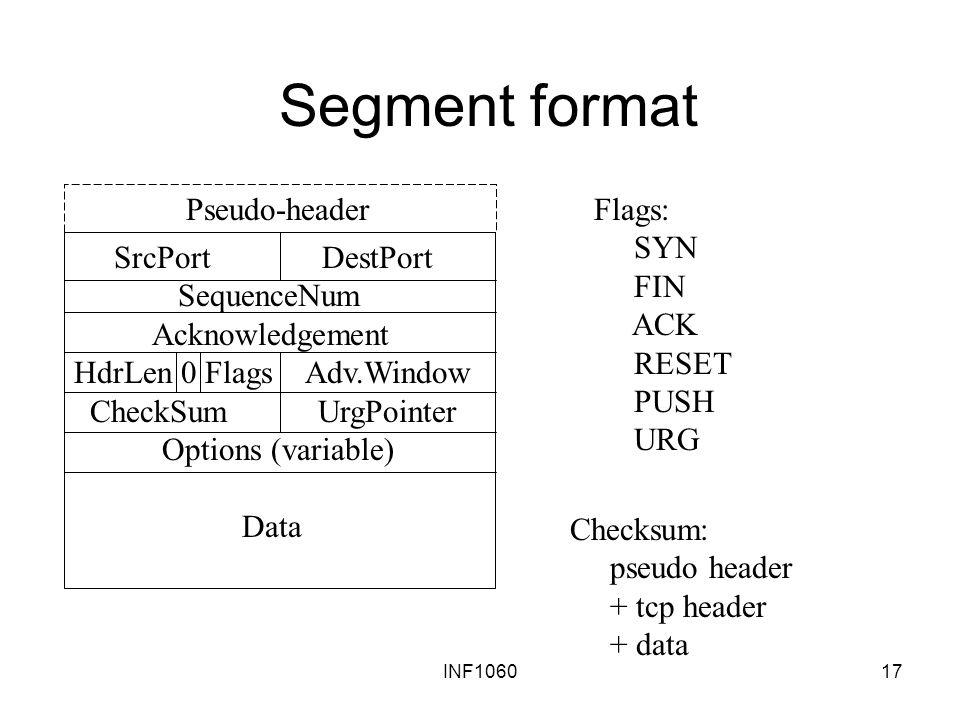 Segment format Pseudo-header Flags: SYN FIN ACK RESET PUSH URG