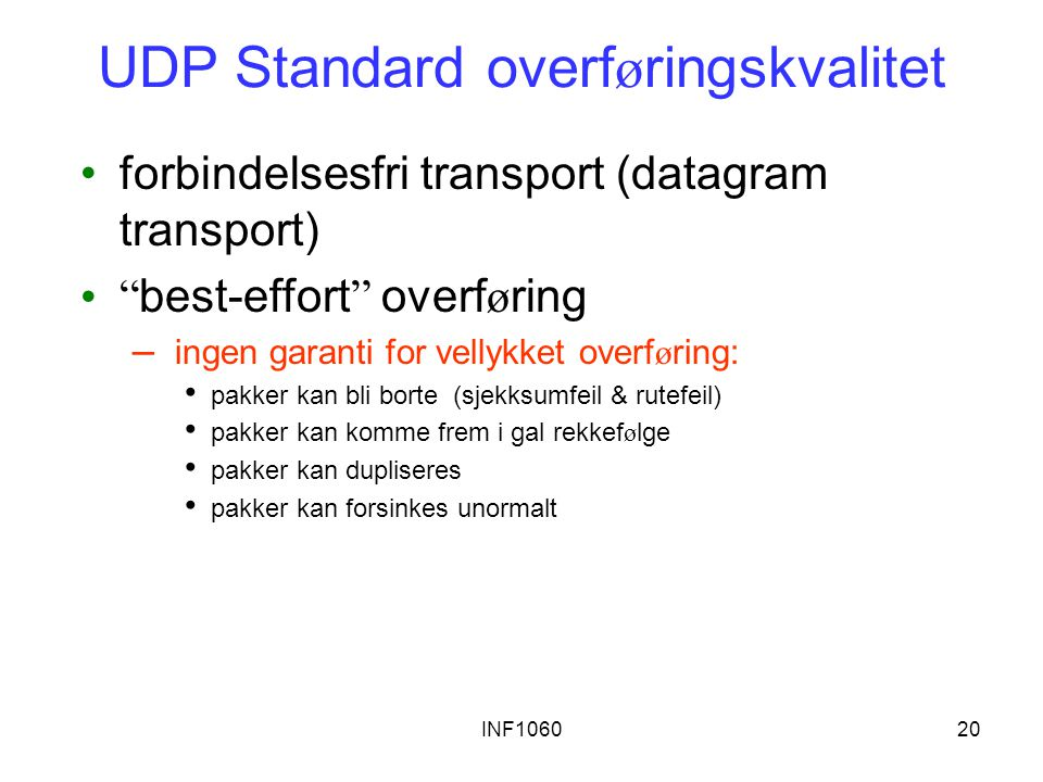 UDP Standard overføringskvalitet