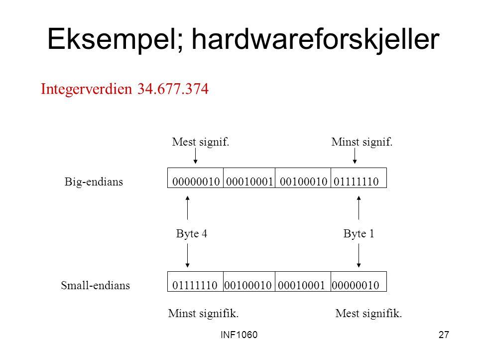 Eksempel; hardwareforskjeller