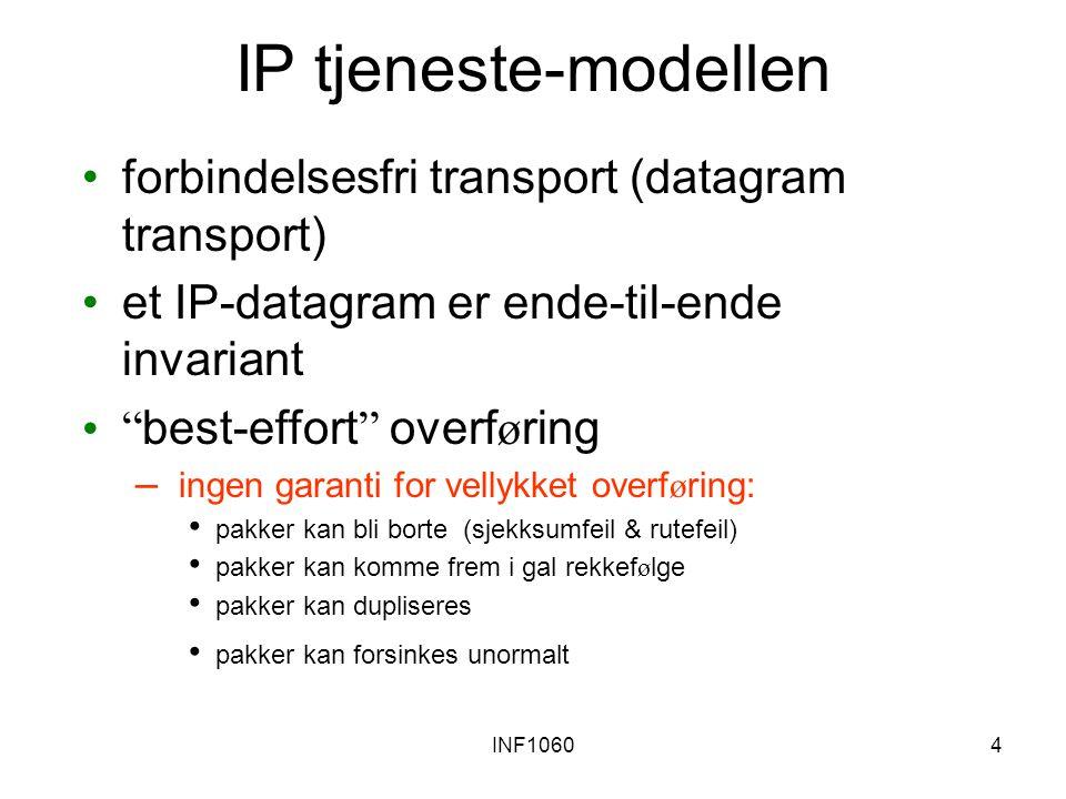 IP tjeneste-modellen forbindelsesfri transport (datagram transport)