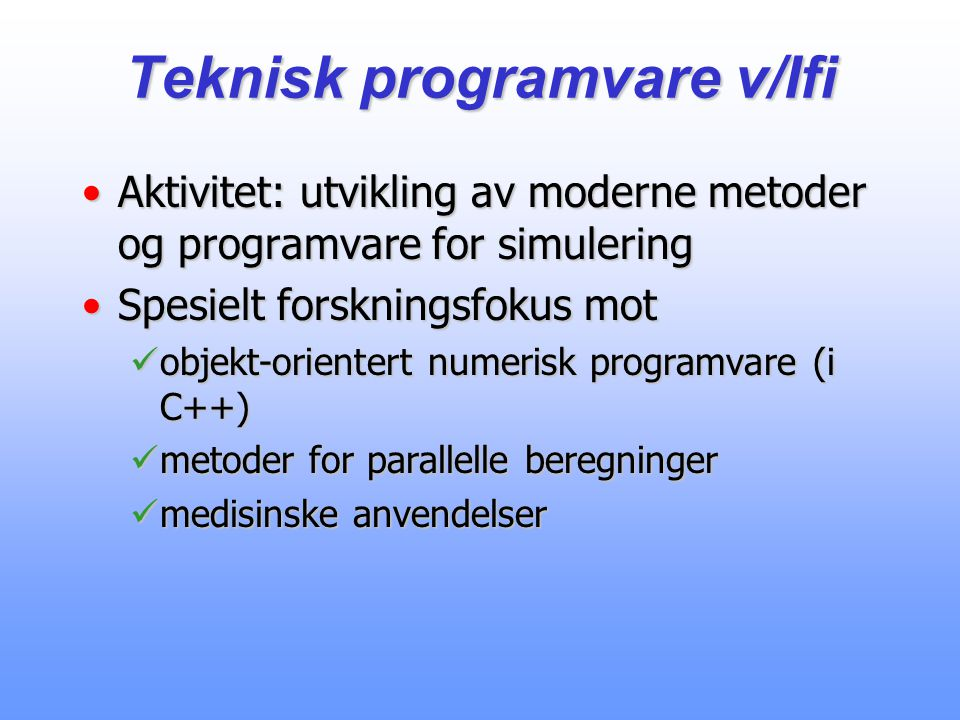 Teknisk programvare v/Ifi