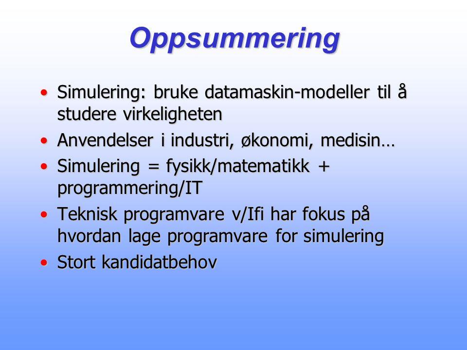Oppsummering Simulering: bruke datamaskin-modeller til å studere virkeligheten. Anvendelser i industri, økonomi, medisin…