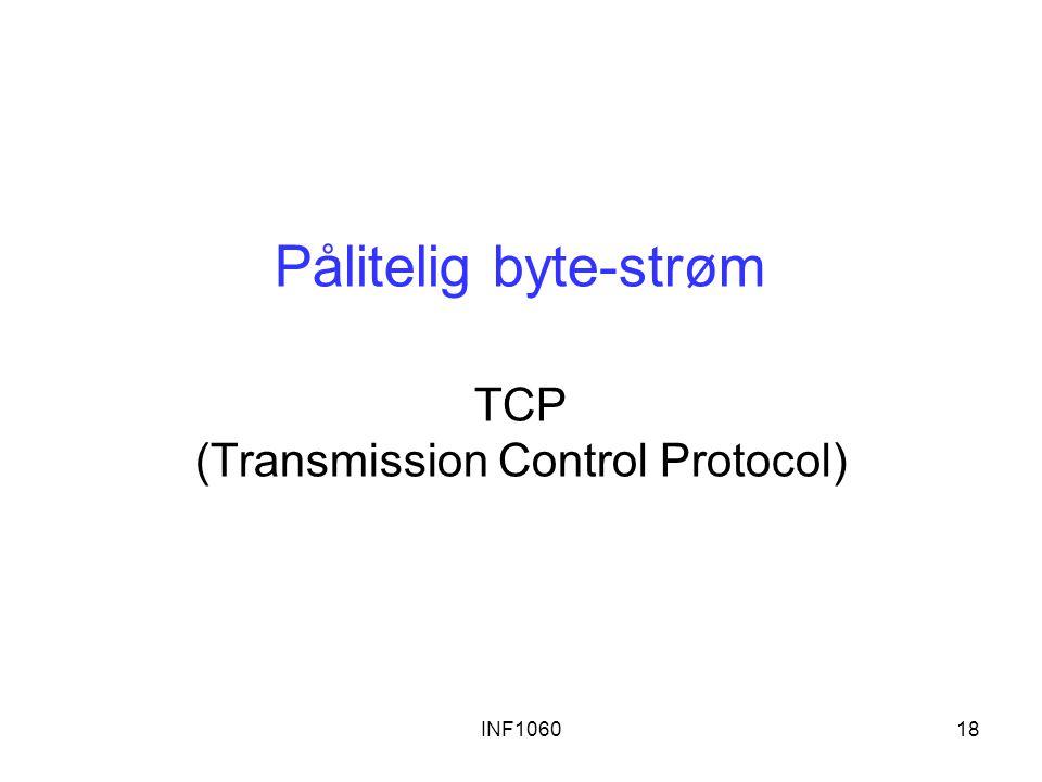 Pålitelig byte-strøm TCP (Transmission Control Protocol)
