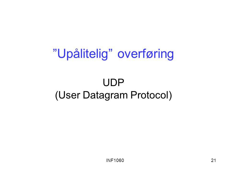 Upålitelig overføring UDP (User Datagram Protocol)